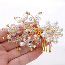 Butterfly Faux Pearl Hair Comb Tiara Rhinestone Crystal Clear Floral