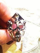 Large Silver Bronze Scull Mask Size 11.5 Men's Ring With Cobras