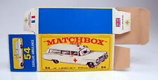 "Matchbox RW 54B Cadillac Ambulance leere originale ""E2"" Box top"