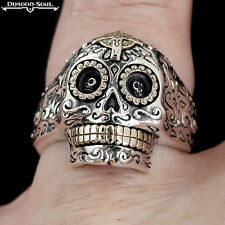 MEMENTO MORI MEXICAN DAY OF THE DEAD SUGAR SKULL RING STERLING SILVER ADJ.-8-11