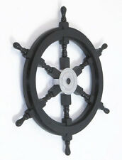 """Black Pirate Ship's Steering Wheel 24"""" Wooden Nautical Wall Decor New"""