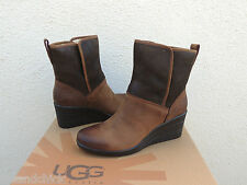 UGG RENATTA STOUT WP LEATHER/ SHEEPSKIN WEDGE RAIN ANKLE BOOTS, US 7/ EU 38 NIB