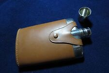 Vintage Flask, glass-lined and leather-covered, with lid and shot cup overlid