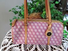 DOONEY & BOURKE SIGNATURE PINK CANVAS LEATHER TRIM  DUFFLE SATCHEL HANDBAG