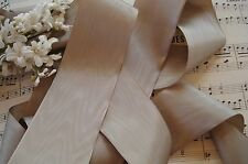 1y VINTAGE FRENCH SILKY TAUPE RAYON MOIRE MILLINERY RIBBON TRIM ANTIQUE CLOCHE