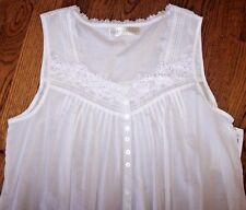"NWT Eileen West 50"" Solid White FLORAL CROCHET Cotton Lawn Nightgown Gown M $70"
