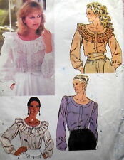 VTG VOGUE 7985 SEW PATTERN MISS BLOUSE LOOSE NECK RUFFLE BOHO NECKBAND 16 / 38