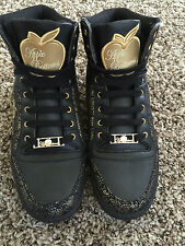 NEW Women Apple Bottom M-Candy Black/Gold High Top Casual Athletic Shoes.  8