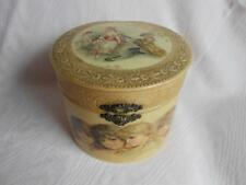 Antique VICTORIAN CELLULOID VANITY COLLAR  BOX Cherub,French Lady,Brundage girls