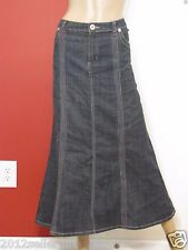 BACCINI BLUE JEAN LONG MAXI 5 POCKET PIPE STITCH DENIM SKIRT SZ 14