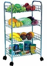 4 Tier Kitchen Fruit & Vegetable Rack On Wheels Stand Cart Deep Storage Trolley