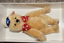 2003 Steiff USA First American Teddy Bear Blonde Mohair Growler patriotic USA
