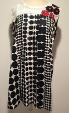 Black & White Polka Dot Women's L Dress Embroidered Flowers Button Centers