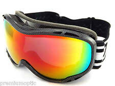DIRTY DOG BUG Ski Snowboard Goggles Carbon / Red Fusion MIRROR Lens CAT.3  54126