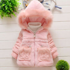 Baby Girl Kids Fur Coat Outerwear Winter Warm Thick Jacket Tops Cotton Snowsuit