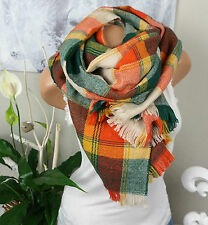 XXL HALSTUCH Schal Tartan Kariert Orange Grün Nude Plaid STOLA Warm Blogger