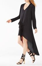 |NEW| BCBG Black KYNDAL Ruffle High-Low Dress XXS $198 WQR68G44
