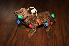 Pottery Barn Bottle Brush Tangled Chocolate Lab Dog Christmas Ornament New