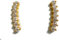 24k 22k Thai Gold Plated 15mm Crawlers Stud Cubic Zirconia Earrings Jewelry