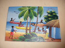 Beautiful  Labadee Haiti oil painting beach scene with people by artist Lesly