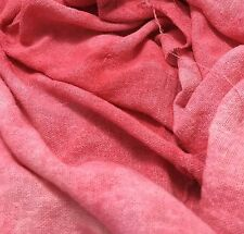 """Hand Dyed CORAL PINK Raw Silk Noil Poplin Gauze Fabric - 18""""x22"""" remnant"""