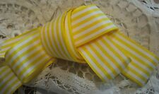 "1""    TAFFETA   YELLOW  / WHITE STRIPE WOVEN RIBBON  - SILKY"