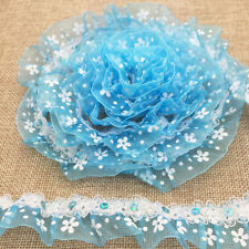 New 5 Yard 2-Layer 30mm Sky Blue Organza Lace Gathered Pleated Sequined Trim #43
