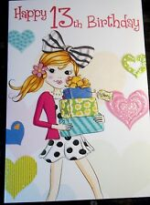 Girl's Happy 13th Birthday Card. Presents theme by Heartstrings, 24 available.