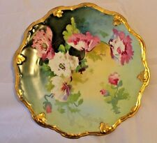 """Coronet Limoges 9.5"""" Floral Plate w/Gold Accents - Hand Painted/Signed by Nayat"""