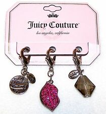 NEW $26 Tag JUICY COUTURE 3 SILVER Tone CHARMS Lady Juicy PINK LIPS Gray Bead