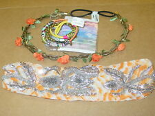 Urban Outfitters lot 2 headbands beaded chain + 8 hair ties boho-NWT-$74.00