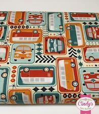 KEEP ON GROOVIN' RILEY BLAKE VW BUS BUG RETRO QUILT FABRIC BY THE 1/2 YD. #C5240