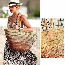 Women New Summer Trendy Straw Beach Large Tote Shoulder Bag Brown   チ