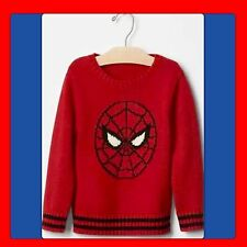 "NWT Boys 18-24 mos BABY GAP ""Junk Food"" red Crew Neck SPIDERMAN Sweater Cardigan"