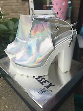 Ladies Size 7 Metallic Silver Cleated High Heels Summer Holiday Festival Party