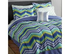 New 8pc Ric Rac Luna Green & Blue Queen Bed-In-A-Bag Comforter Set