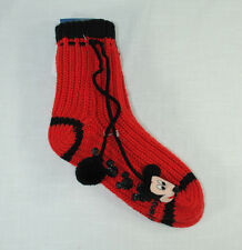 Disney Mickey Mouse Pom Pom Head Size 9-11 Knitted Non Slip Socks NWT Red Black