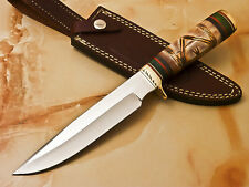 HAND MADE STAINLESS STEEL HUNTING KNIFE - ENGRAVING BURN CAMEL BONE - T-12