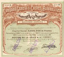 Compania General de Coches y Automoviles SA, accion, Barcelona, 1910