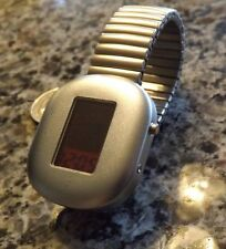 Retro-chic! Monarch space age stainless red face digital watch w/ expansion band