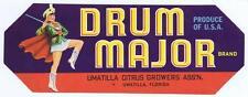 Drum Major citrus fruit crate label, Limatilla Florida
