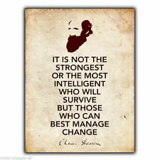 """METAL SIGN WALL PLAQUE Charles Darwin """"IT IS NOT THE STRONGEST"""" Quote art print"""
