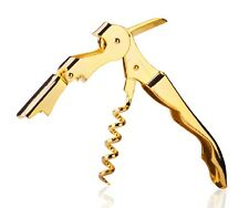 Gold Plated Corkscrew Double Hinge Waiters Wine Key / Bottle Opener # CHGLD