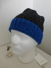 Bnwt Paul Smith anthracite bleu twist mélange laine tricot bonnet
