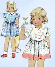 1940s Vintage McCall Sewing Pattern 5139 WWII Tiny Toddler Girls Dress Size 2