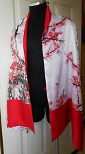 Japanese Cherry Blossom Tree Design Women's 100% Silk Double Layer  Large Scarf
