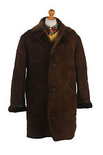 Sheepskin Coat Leather Bomber Jacket Aviator Lined Brown Chest 48'' C389