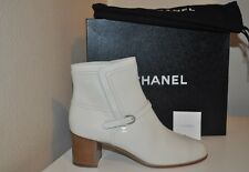 NIB $1,200 CHANEL 16A White Leather CC Block Heel Short Ankle Boot Bootie 39 - 9