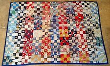Patchwork Crib Quilt, Nine Patch, Tied, Floral Calicos, Checks, Stripes, Multi