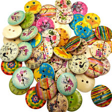 50x Wooden Button Decorative 2 Holes Fit Sewing Scrapbooking Craft DIY 20mm